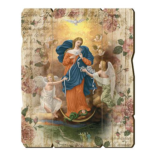 Quadro legno sagomato gancio retro Madonna dei Nodi 1