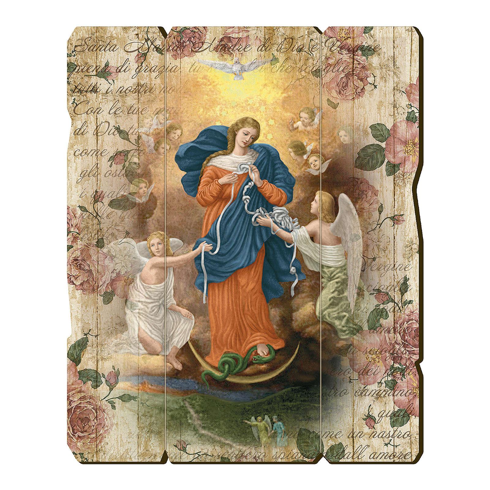 Obraz Matka Boża rozwiązująca węzły retro drewno profilowany brzeg haczyk 3
