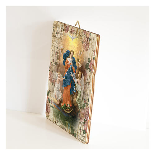 Quadro madeira moldada gancho no verso Nossa Senhora Desatadora dos Nós 2