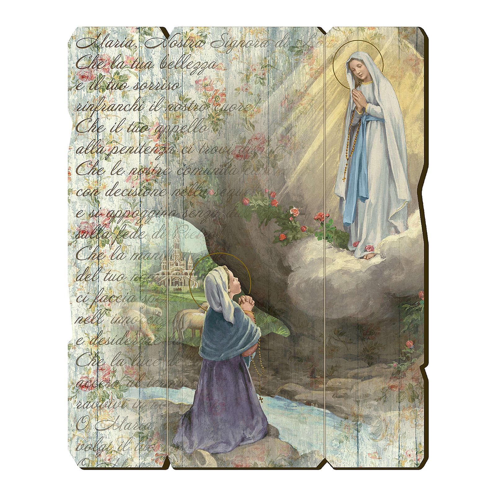 Quadro legno sagomato gancio retro Apparizione di Lourdes 3