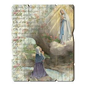 Quadro legno sagomato gancio retro Apparizione di Lourdes s1