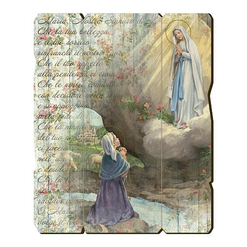 Quadro legno sagomato gancio retro Apparizione di Lourdes 1