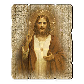 Paintings, printings, illuminated manuscripts: The Sacred Heart of Jesus painting in wood 35x30 cm