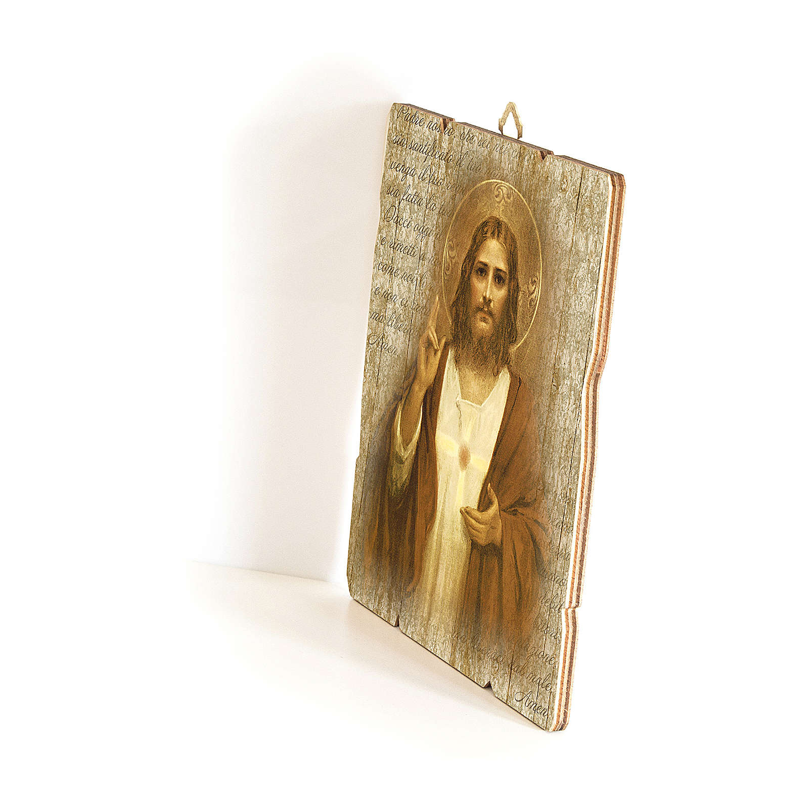 The Sacred Heart of Jesus painting in wood 35x30 cm 3