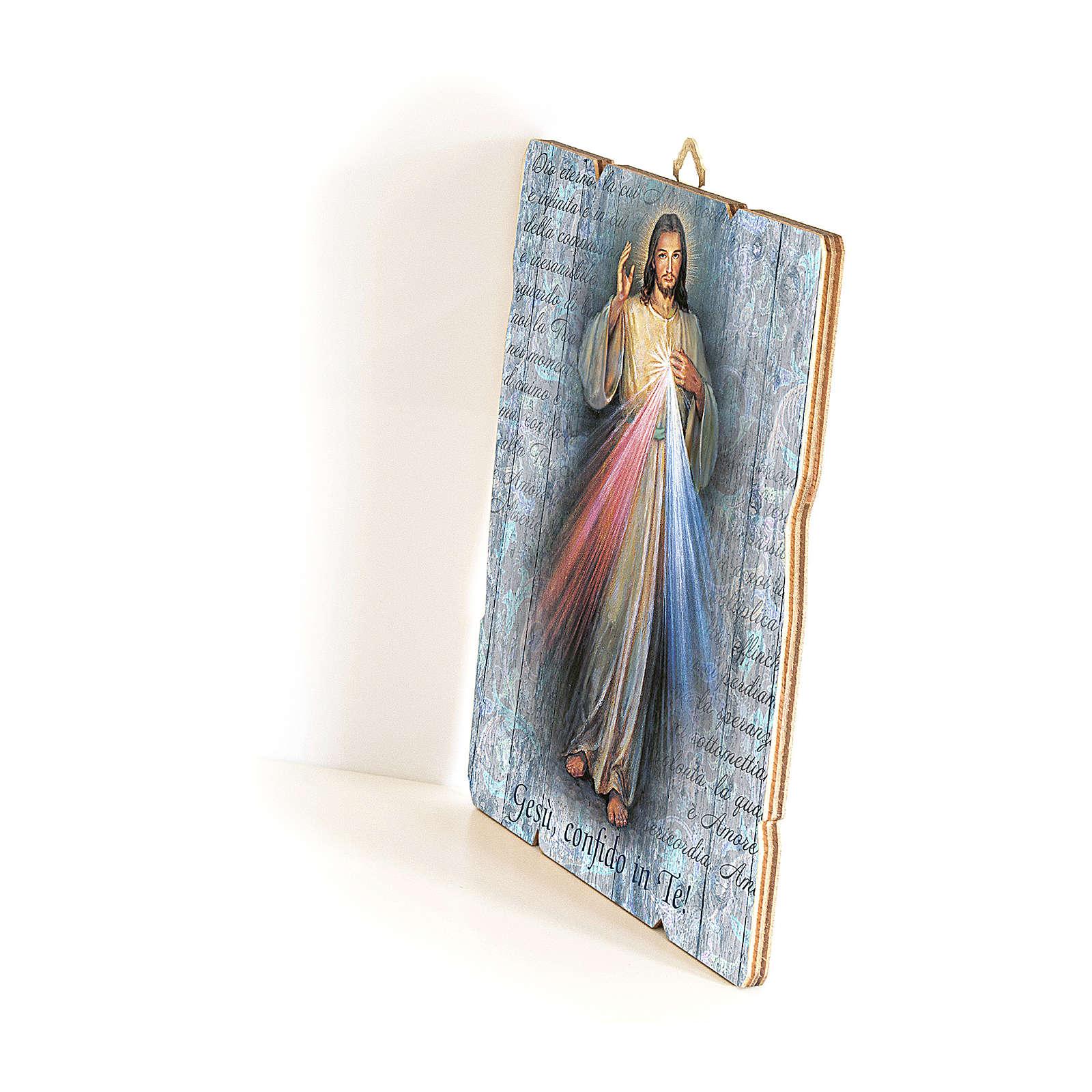 Cuadro de Madera Perfilada Jesús Misericordioso 35x30 3