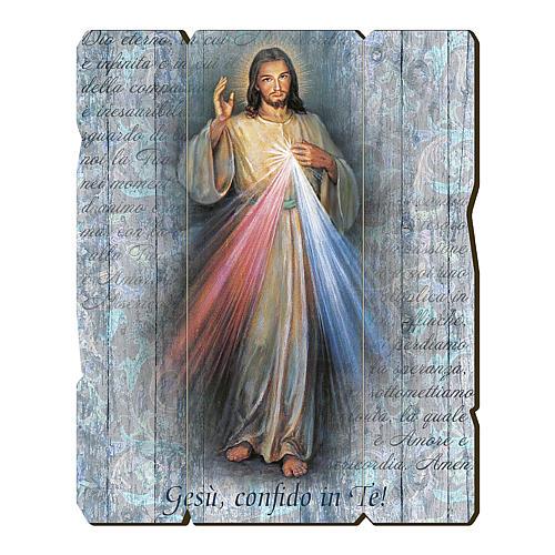 Quadro in Legno Sagomato Gesù Misericordioso 35x30 1