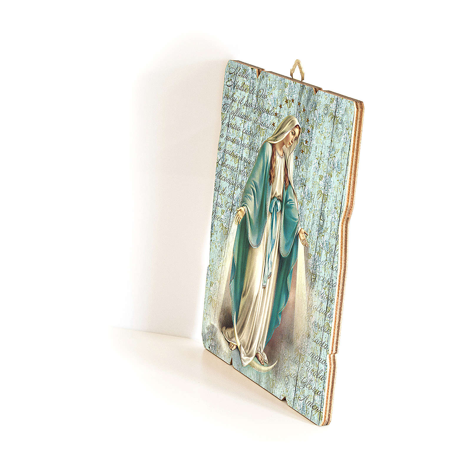 Our Lady of Miracles moulded wooden painting with hook on the back 35x30 cm 3