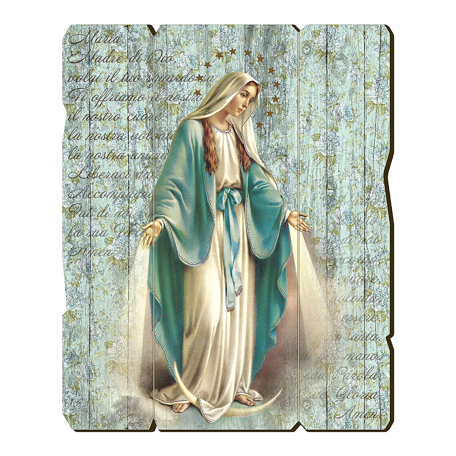 Cuadro de Madera Perfilada gancho parte posterior Virgen Milagrosa 35x30 3