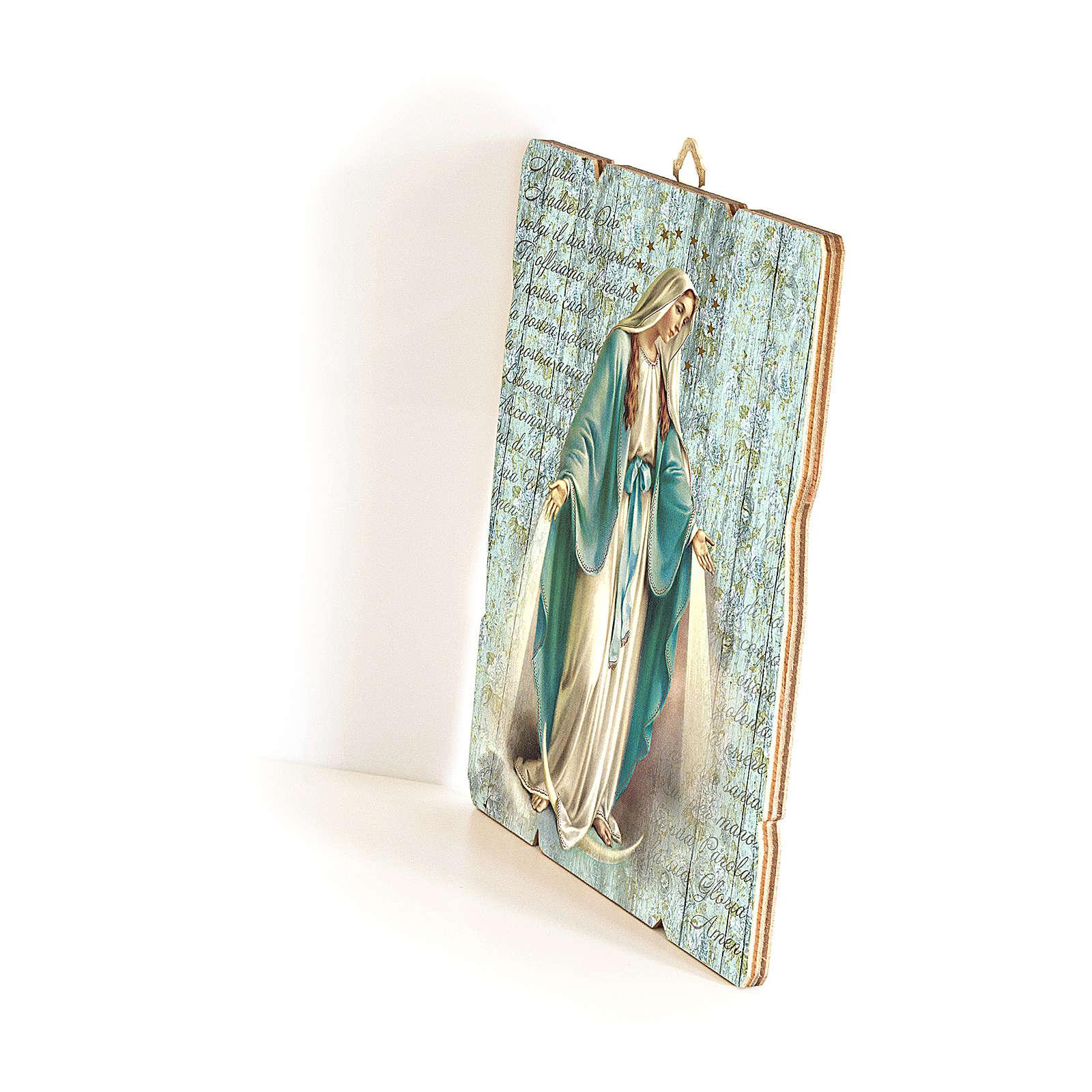 Quadro in Legno Sagomato gancio retro Madonna Miracolosa 35x30 3