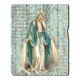 Quadro in Legno Sagomato gancio retro Madonna Miracolosa 35x30 s1