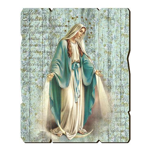 Quadro in Legno Sagomato gancio retro Madonna Miracolosa 35x30 1