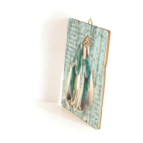 Quadro in Legno Sagomato gancio retro Madonna Miracolosa 35x30 2