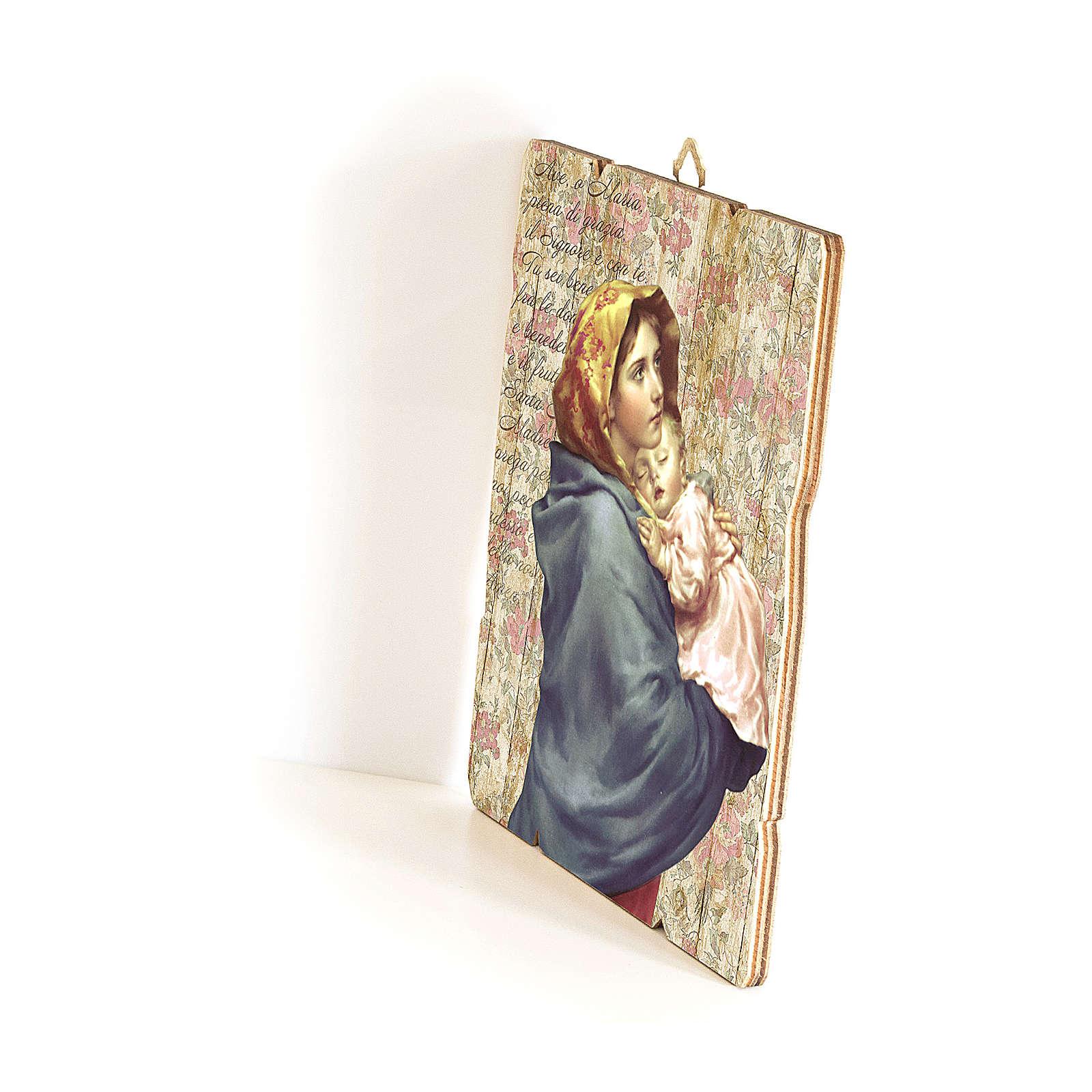 Quadro in Legno Sagomato gancio retro Madonnina Bambino Ferruzzi 35x30 3