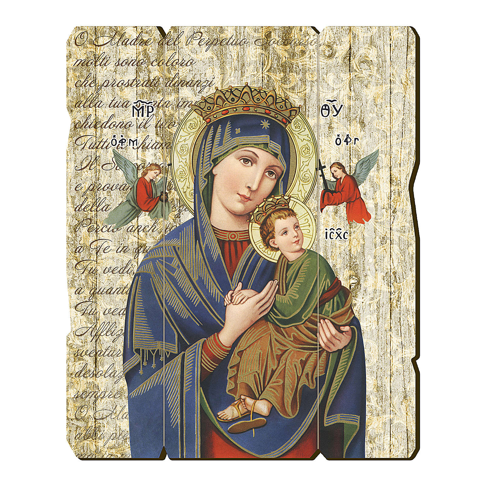 Our Lady of Perpetual Help painting in moulded wood with hook on the back 35x30 cm 3