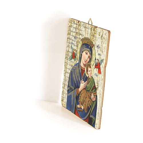 Our Lady of Perpetual Help painting in moulded wood with hook on the back 35x30 cm 2