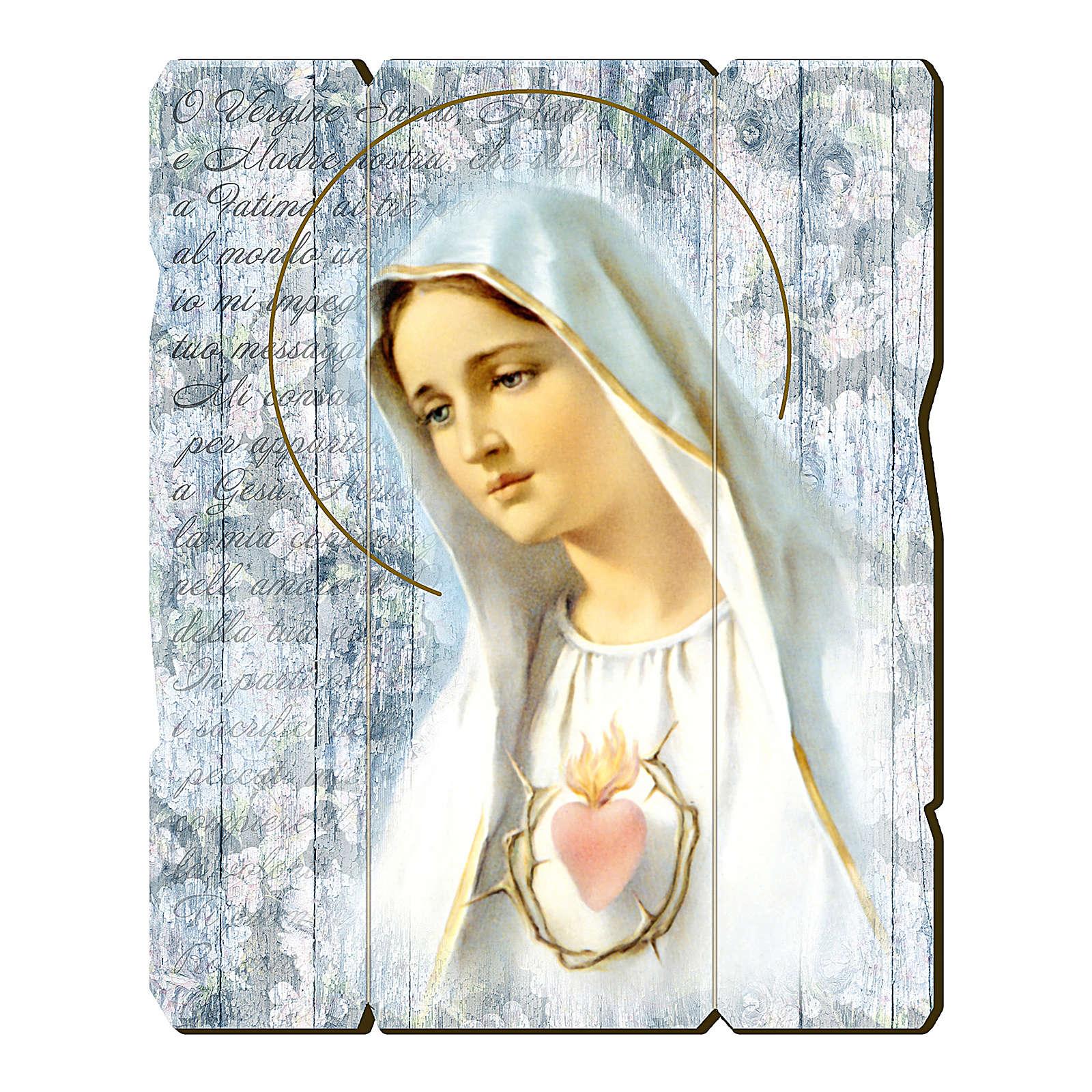 Quadro in Legno Sagomato gancio retro della Madonna Fatima 35x30 3