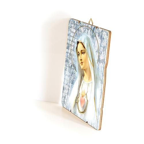 Quadro in Legno Sagomato gancio retro della Madonna Fatima 35x30 2