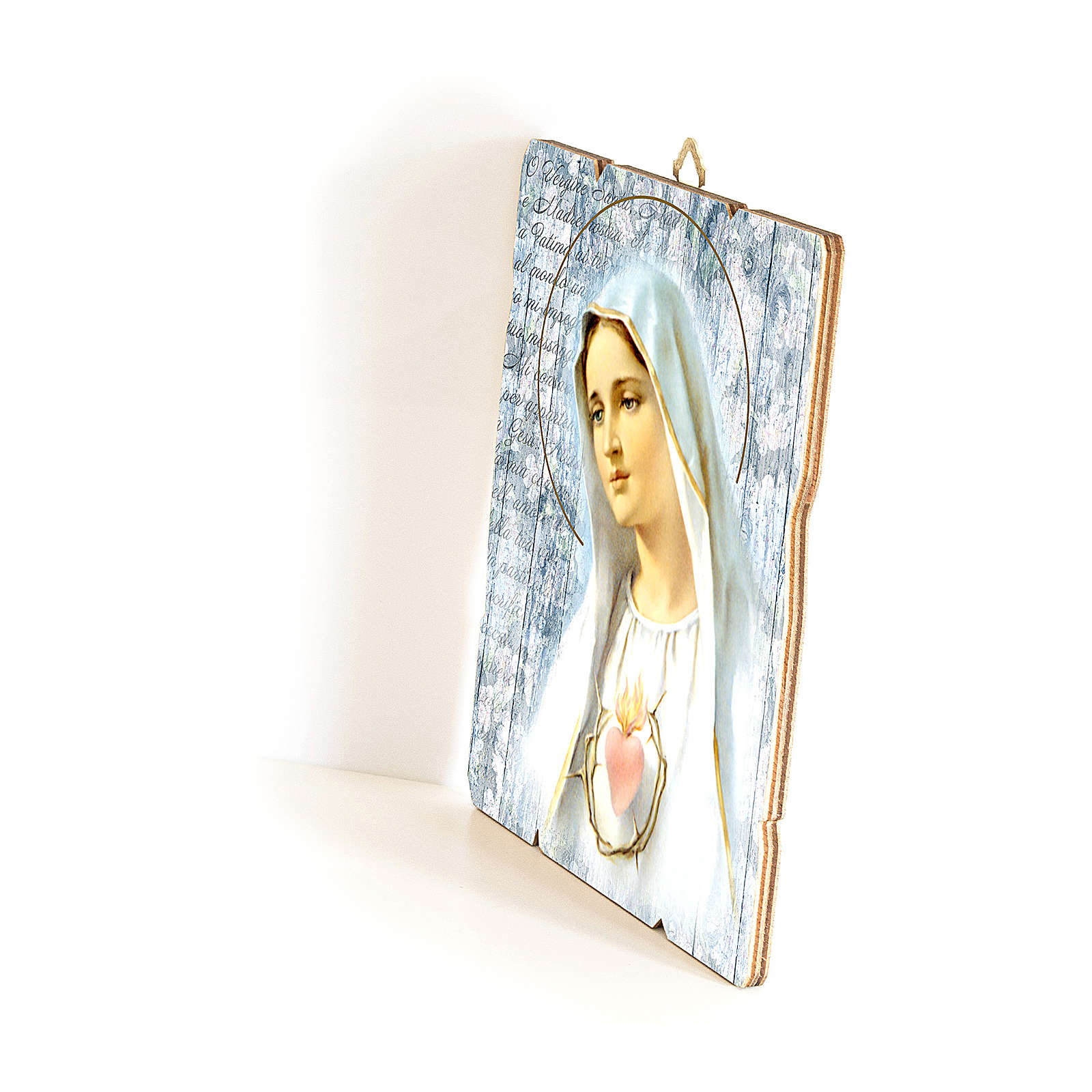 Our Lady of Fatima painting in moulded wood with hook on the back 35x30 cm 3