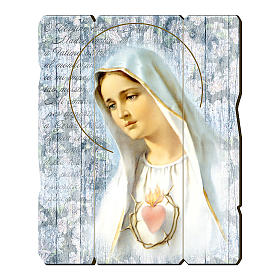 Our Lady of Fatima painting in moulded wood with hook on the back 35x30 cm s1