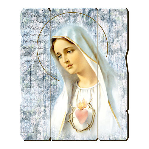 Our Lady of Fatima painting in moulded wood with hook on the back 35x30 cm 1