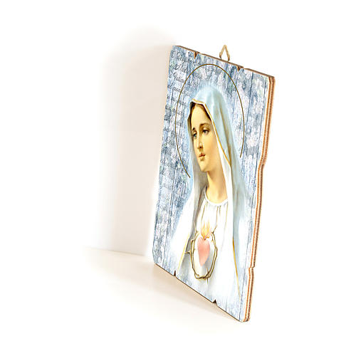 Our Lady of Fatima painting in moulded wood with hook on the back 35x30 cm 2