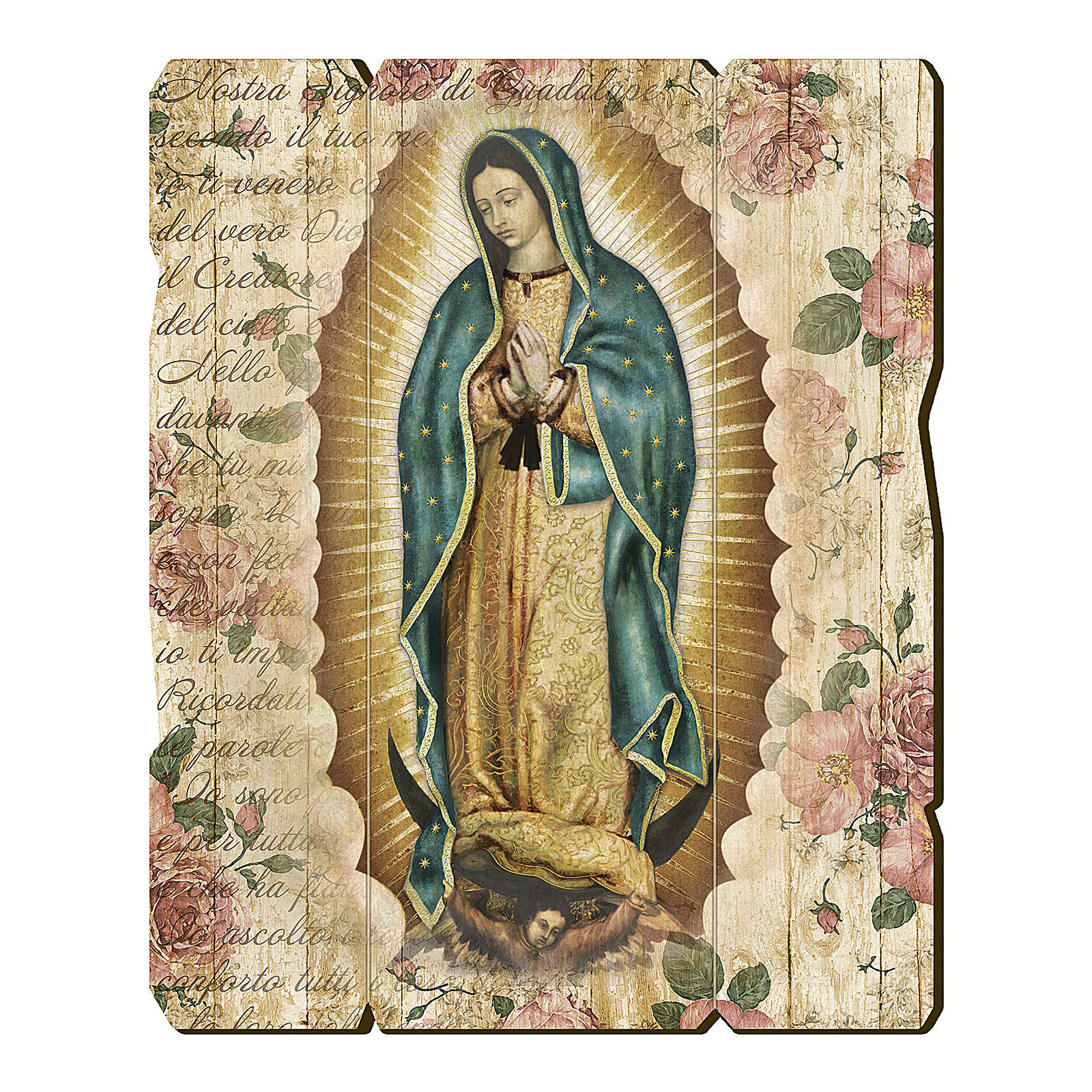 Our Lady of Guadalupe painting in moulded wood with hook on the back 35x30 cm 3