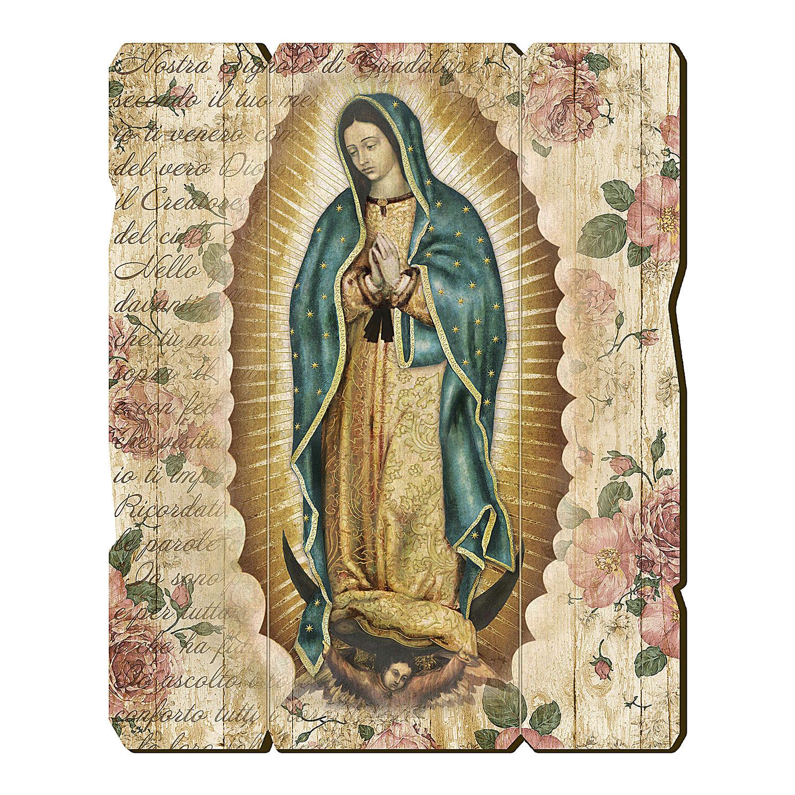 Quadro in Legno Sagomato gancio retro Madonna Guadalupe 35x30 3