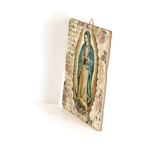 Quadro in Legno Sagomato gancio retro Madonna Guadalupe 35x30 2