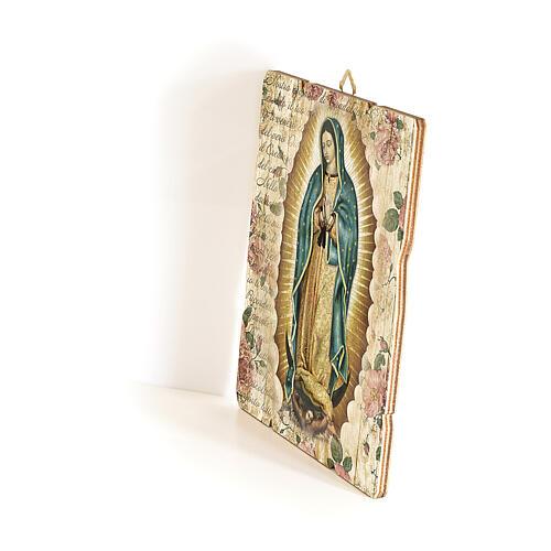 Quadro em madeira moldada gancho no verso Nossa Senhora de Guadalupe 35x30 cm 2