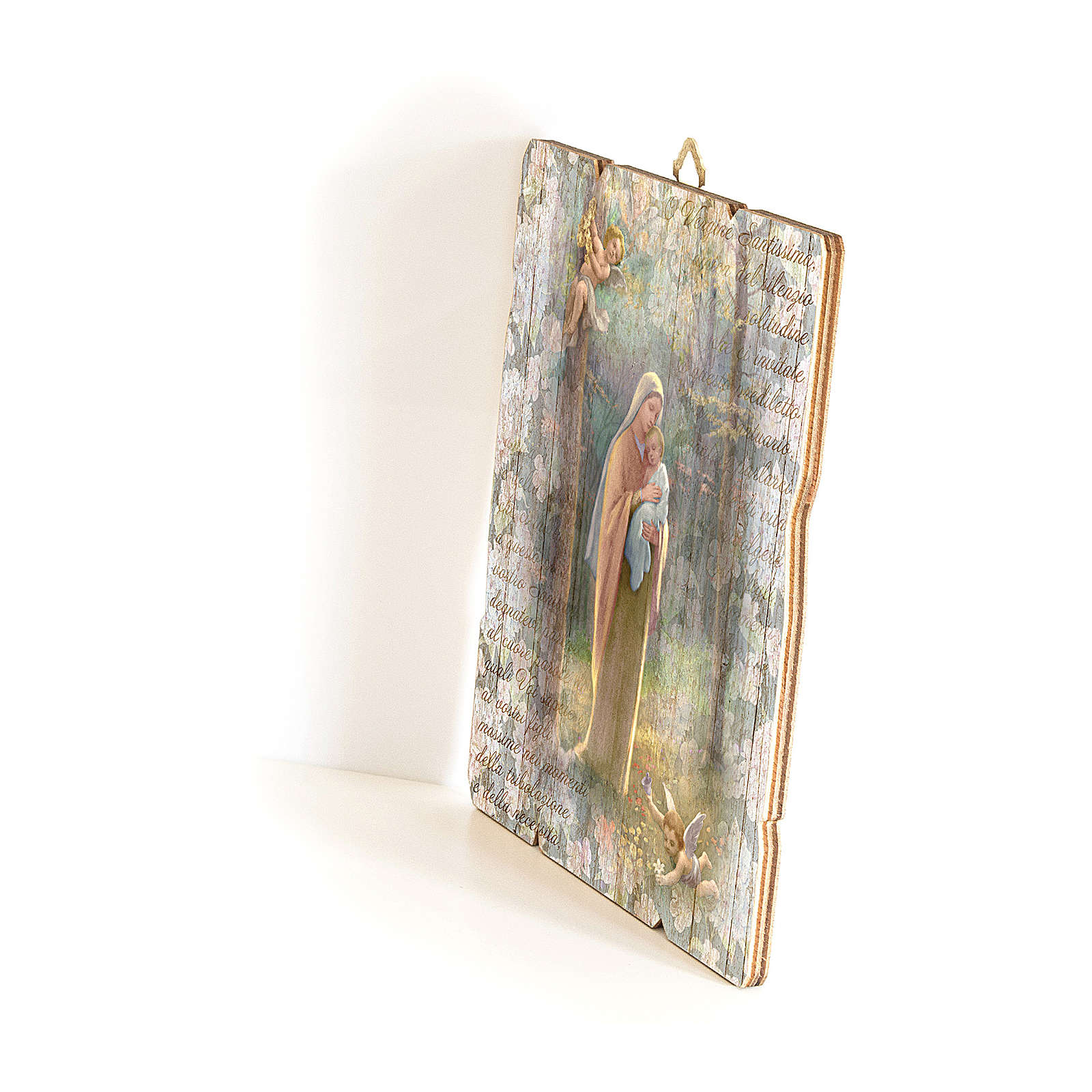 Quadro in Legno Sagomato gancio retro Madonna del Bosco 35x30 3
