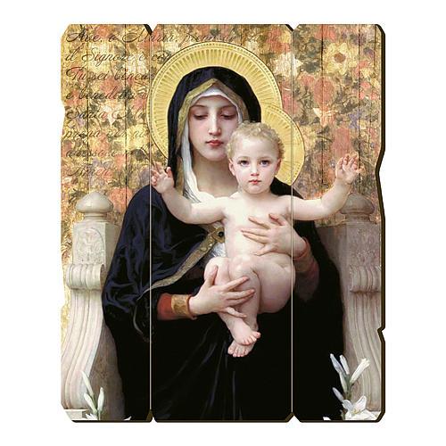 Quadro in Legno Sagomato gancio retro Vergine del Giglio  35x30 1