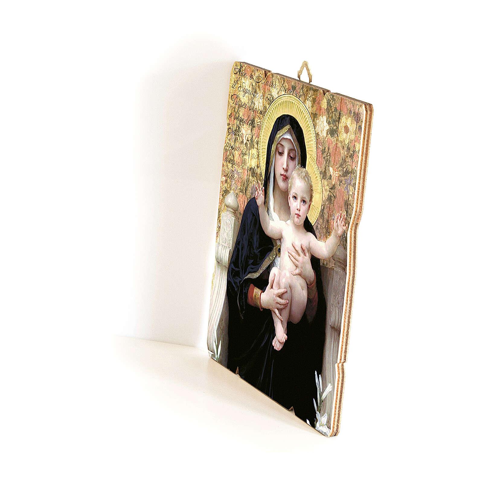 Quadro em madeira moldada gancho no verso Virgem do Lírio de Bouguereau 35x30 cm 3