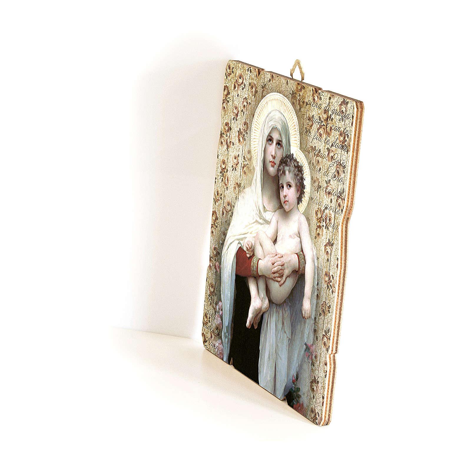Quadro in Legno Sagomato gancio retro Madonna Bambino Bouguereau 35x30 3