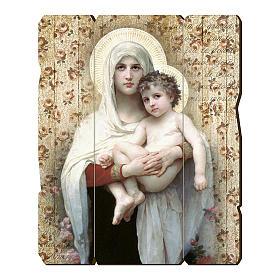 Quadro in Legno Sagomato gancio retro Madonna Bambino Bouguereau 35x30 s1