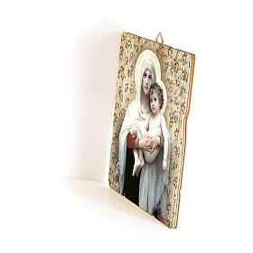 Quadro in Legno Sagomato gancio retro Madonna Bambino Bouguereau 35x30 s2