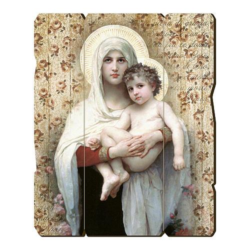 Quadro in Legno Sagomato gancio retro Madonna Bambino Bouguereau 35x30 1