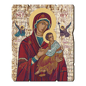 Our Lady of Perpetual Help painting in moulded wood with hook on the back 35x30 cm s1