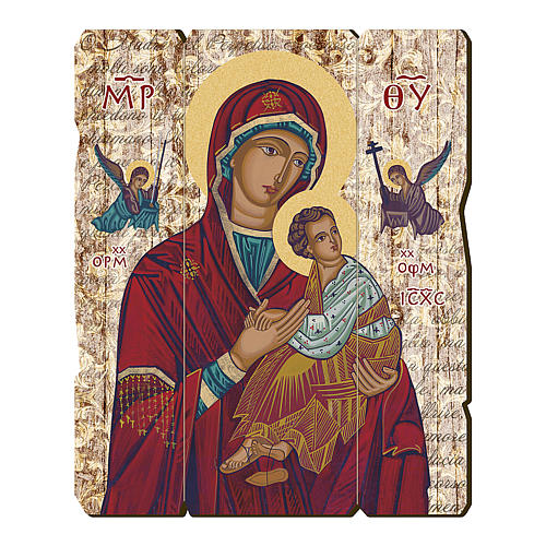 Our Lady of Perpetual Help painting in moulded wood with hook on the back 35x30 cm 1