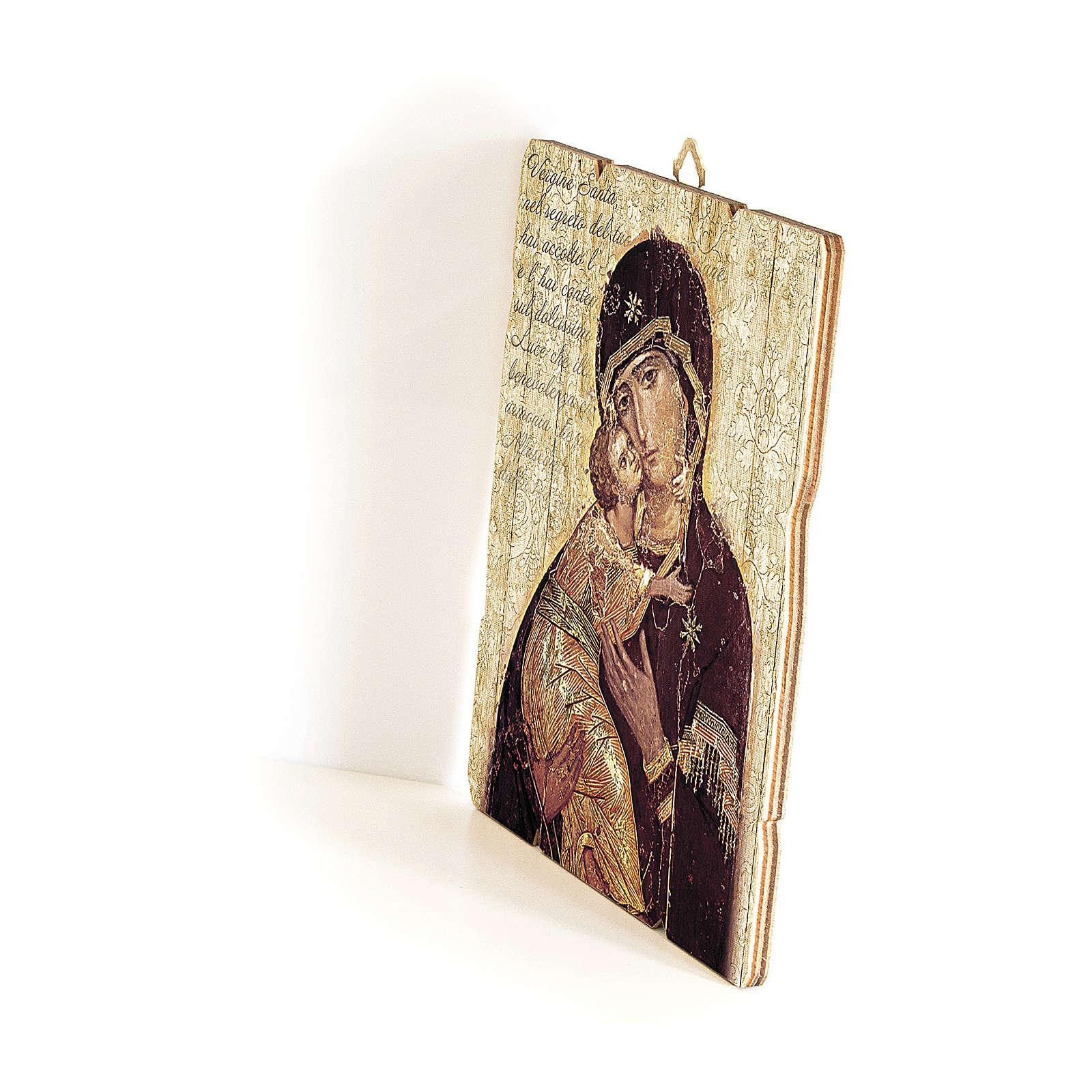 Quadro in Legno Sagomato gancio retro Icona Madonna di Vladimir 35x30 3