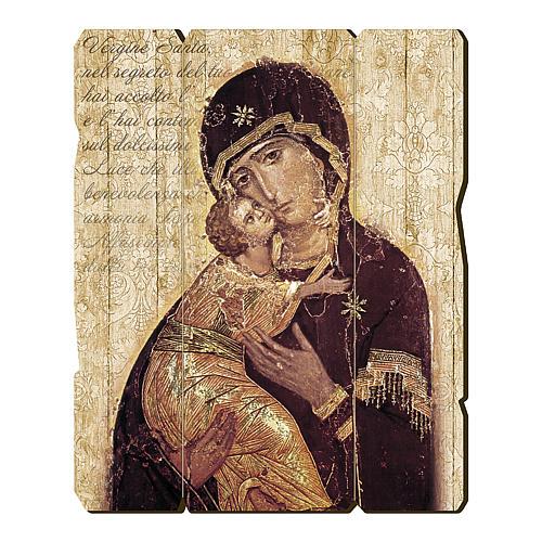 Quadro in Legno Sagomato gancio retro Icona Madonna di Vladimir 35x30 1