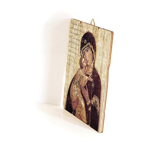 Quadro in Legno Sagomato gancio retro Icona Madonna di Vladimir 35x30 2