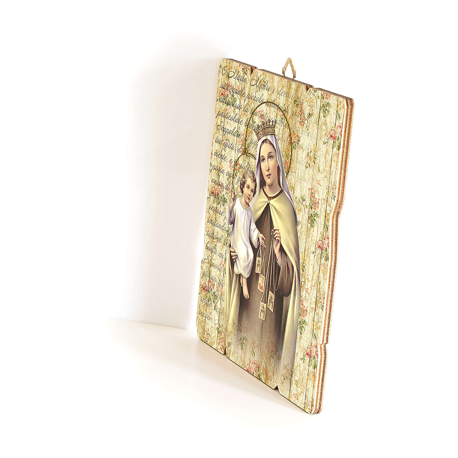 Our Lady of Mount Carmel painting in moulded wood with hook on the back 35x30 cm 3