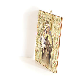 Our Lady of Mount Carmel painting in moulded wood with hook on the back 35x30 cm s2