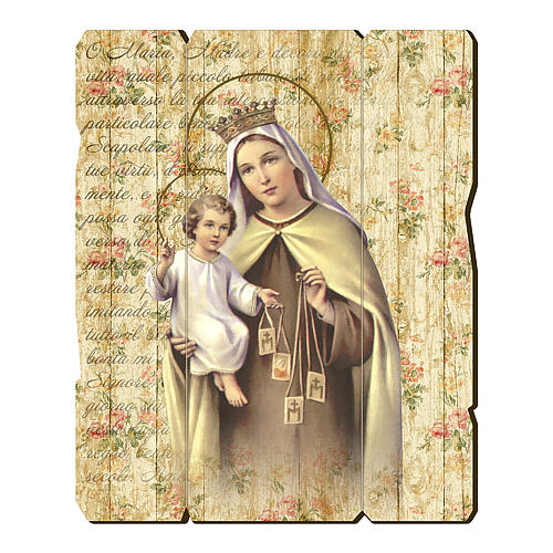 Our Lady of Mount Carmel painting in moulded wood with hook on the back 35x30 cm 1