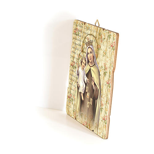 Our Lady of Mount Carmel painting in moulded wood with hook on the back 35x30 cm 2