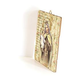 Cadre en bois profilé crochet arrière Notre-Dame du Mont Carmel 35x30 cm s2