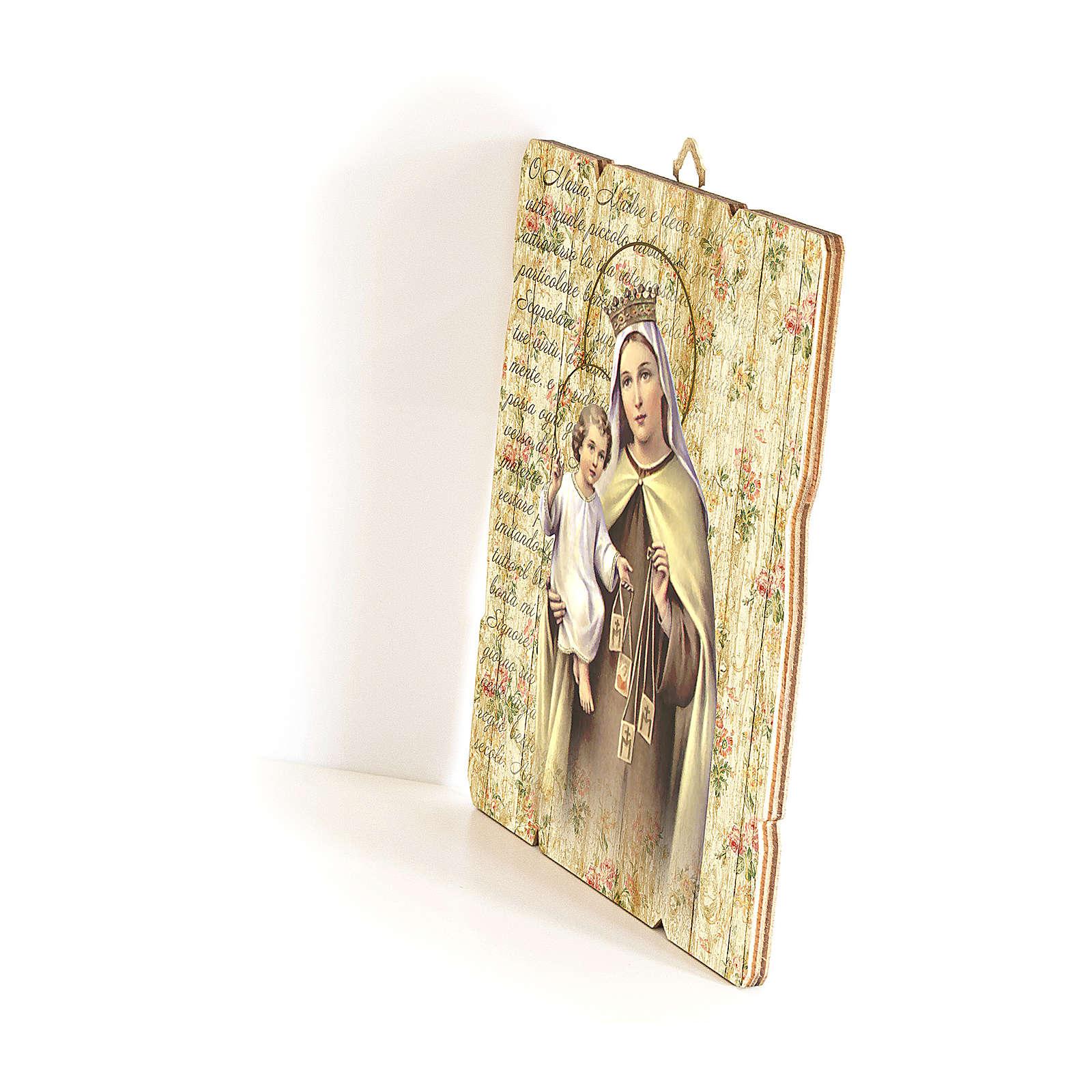 Quadro in Legno Sagomato gancio retro Madonna del Carmelo 35x30 3