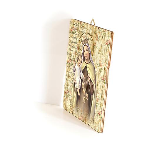 Quadro in Legno Sagomato gancio retro Madonna del Carmelo 35x30 2