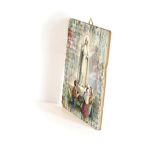 Cuadro Madera con Gancho Virgen de Fatima 35x30 cm 2