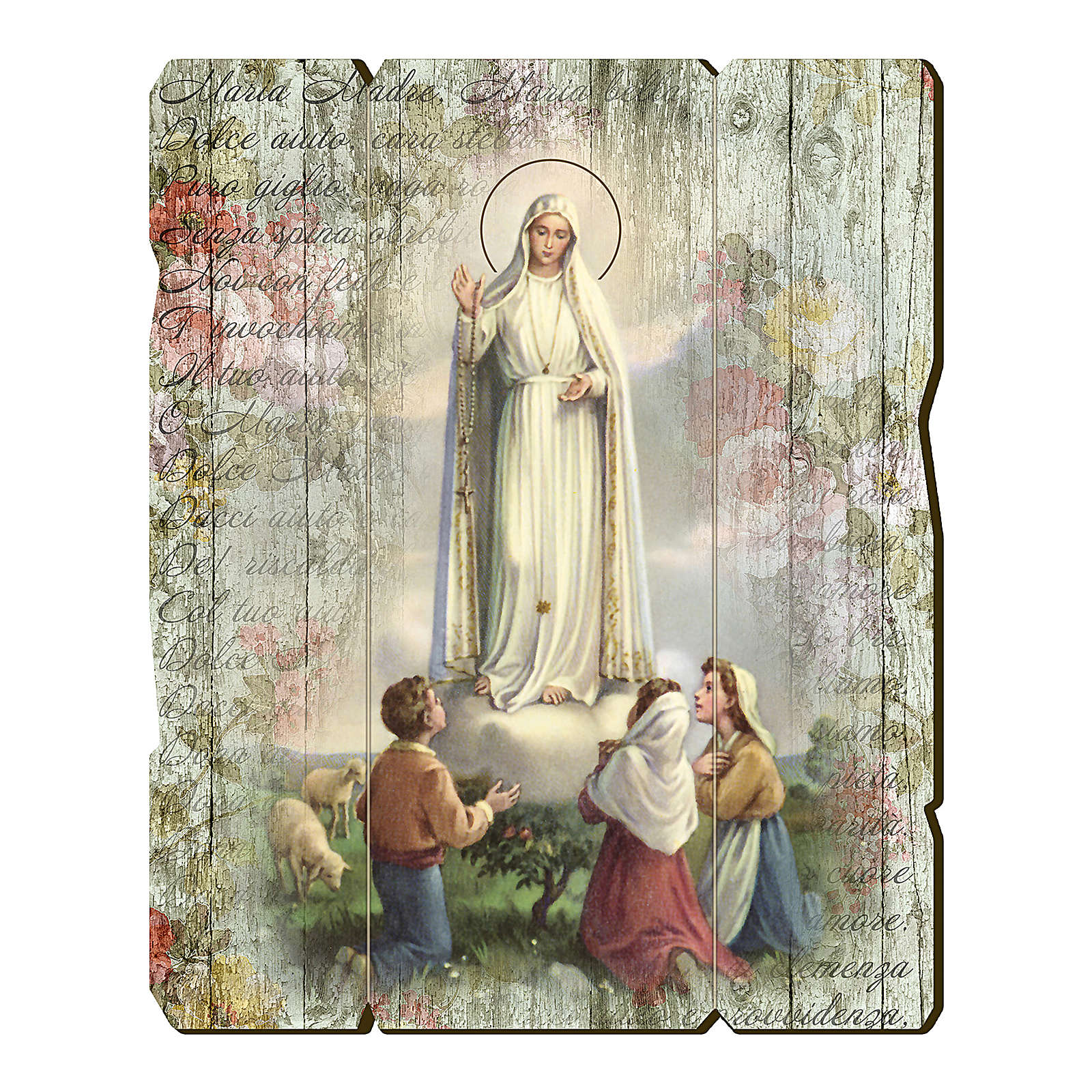 Our Lady of Fatima and shepherds painting on wood with hook 35x30 cm 3